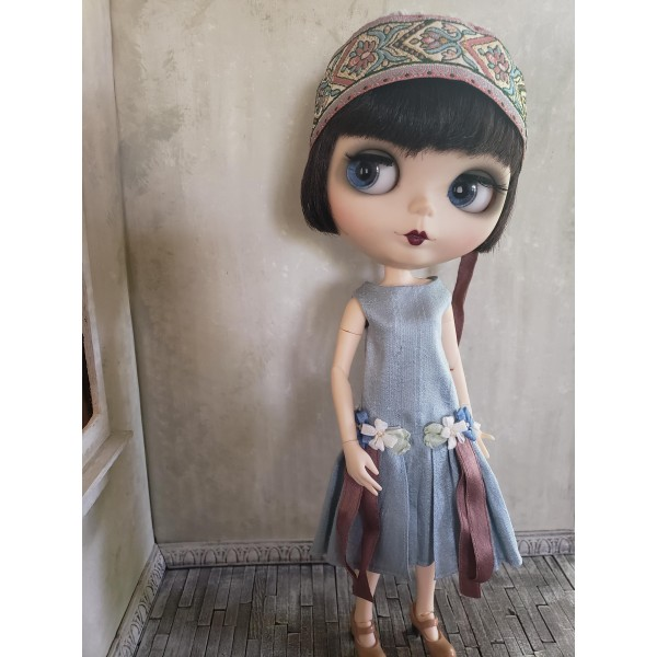 Pale Blue Silk Dress and Hat Set