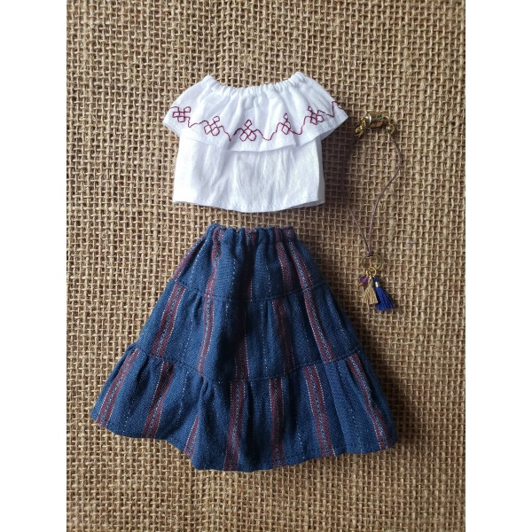 Holala Retro Peasant Top and Broomstick  Skirt Thr...