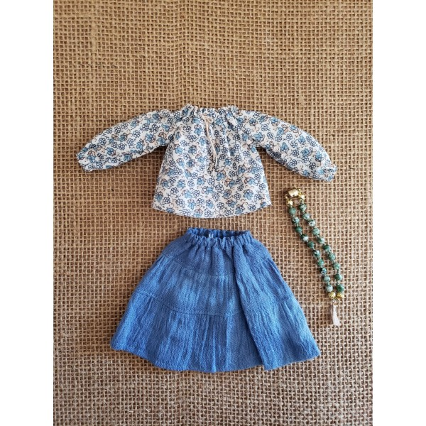Holala Floral Peasant Top and Broomstick Skirt Thr...
